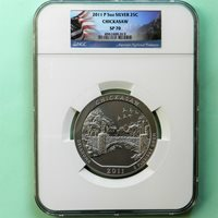 2011-P Chickasaw ATB 5 oz Silver Coin, NGC SP70, Flag Label