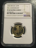 Brazil 20 Reais 2004 Gold NGC PF69UC FIFA