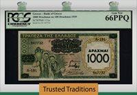 1000 Drachmai 1939 Greece On 100 Drachmai Pcgs 66 Ppq Gem None Finer!