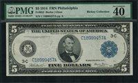 1914 $5 Federal Reserve Note - Philadelphia - FR-853 - PMG 40 EPQ - EF
