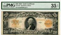 Fr 1187 $20 1922 Gold Certificate PMG 35 Choice Very Fine EPQ