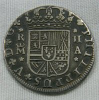 Spain 1724 M A Silver 2 Reales coin KM 327 (0767)