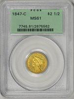 1847-C $2.5 PCGS MS61 Gold Liberty * OGH * Charlotte Mint * #2675562