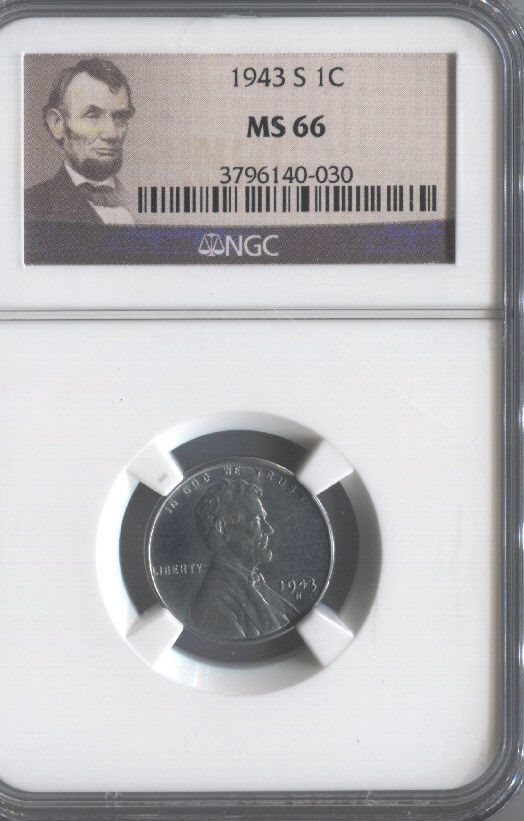 1943-S Steel Lincoln Cent Penny NGC Slab MS66 = $75 Value