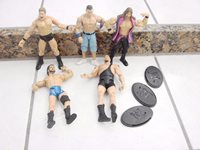 WWE WWF WCW 5 Wrestling Figures Lot some stands included