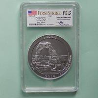 2014-P Arches 5 oz ATB Silver coin, PCGS SP 70 First Strike, Merchanti Label