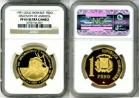 """1991 GOLD DOMINICAN REPUBLIC PESO NGC PROOF 65 ULTRA CAMEO """"AMERICA DISCOVERED"""" ONLY 35 MINTED"""