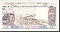 5000 Francs 1985 West African States Banknote, Undated, Km:708kj