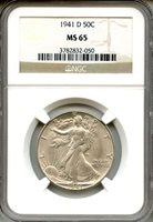 1941-D Walking Liberty Half Dollar NGC MS65 ~ 50c (3782832-050)