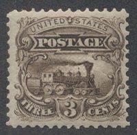 United StatesScott #114-E6d (2014 Scott Value $80.00), Unused, NH, Fine. 3c locomotive perforated plate essay in orange brown.Stamp #47437   Price: $45.00Add To Cart