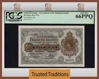 50 Pence 1974 Falkland Islands Queen Elizabeth Ii Pcgs 66 Ppq Gem New
