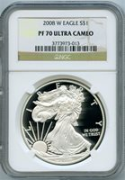 2008-W $1 silver eagle ngc pf70
