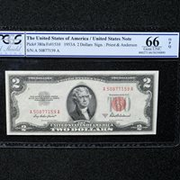 $2 1953-A Legal Tender Note, PCGS 66 OPQ, Fr # 1510,( AA Block) Priest/Anderson