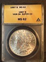 1887 P MS62 VAM 3A Super CD Clashed Obverse n,t, Reverse M Morgan Silver Dollar