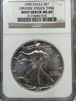 1990 $1 HUGE MINT ERROR Obverse Struck Thru Silver Eagle Coin NGC MS69 V-115
