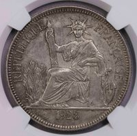 NGC-AU58 1928A FR INDO CHINA 1PIASTER SILVER KEY DATE