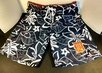 Genuine Merchandise Detroit Tigers Sz Sm Dark Blue Hawaiian Flowers Swim Trunks
