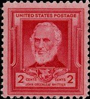 Scott 865 — 2c John Greenleaf Whittier— Famous American Poet Pane Single