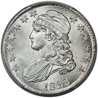1832 50C SMALL LETTERS *** O-120 R.3 NO TAIL FEATHERS NGC MS64