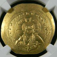 Byzantine Empire 1042-1055 AD Gold Histamenon Nomisma Cup Coin NGC Choice AU