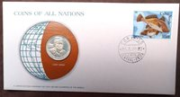 1984 Postmarked Coins of All Nations PNC with Mint state coin, Cape Verde