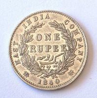 1840 QUEEN VICTORIA EAST INDIA COMPANY SILVER ONE RUPEE
