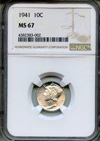 1941 Mercury Dime NGC MS67 ~ 10c (4382383-002)