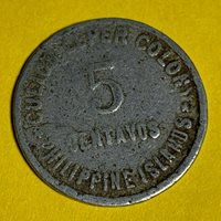 PHILIPPINES CULION LEPER COIN 1913 FIVE CENTAVO KM-6 #104