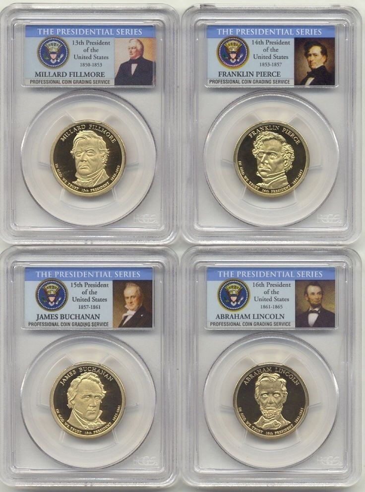 USA 1 DOLLAR COMPLETED 2010 SET 4 COIN 13th 14th 15th 16th US PRESIDENT
