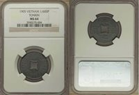 1905 Tonkin Vietnam Zinc Coin 1/600 Piastre KM #1 Square Central Hole NGC MS 64