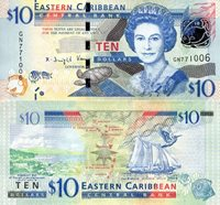 """Eastern Caribbean States 10 Dollars Pick #: 52b 2016 UNCOther Caribbean Islands Currency (Wide security thread) Turquoise/Blue Queen Elizabeth II; Turtle; Hologram; Building in background; Coastline/Bay; Ship; Bird; Fish; Hologram effect of map, compass and different species of fishNote 5 3/4"""" x 2 3/4 """" North and Central America Queen Elizabeth II"""
