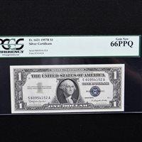 $1 1957 B Silver Cert. PCGS 66 PPQ Gem New, Fr # 1621(SA Block) Granahan/Dillon