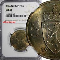 5 Kroner World Coins Norway Olav V 1966 Ngc Ms64 Light Toned Only 1 Graded Highest Km# 412