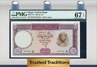 5 Pounds 1964-65 Egypt Central Bank Pmg 67 Epq Superb Gem Uncirculated!