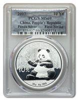 2017 China 30 gram Silver Panda MS-69 PCGS (First Strike) - Foil Label