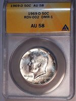 1969 D Kennedy Half Dollar RDV-002 DMR-1 Early Flared G Rev ANACS AU 58 526