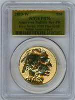 2013-W $50 reverse gold buffalo pcgs pr70 first strike