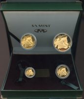 South Africa 1998; Gold Natura Proof Set; Leopard; 4 coins 1.85oz gold; includes green box