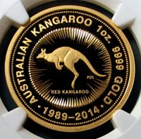 2014 P GOLD AUSTRALIA $100 KANGAROO 25th ANNIVERSARY NGC PERFECT PROOF 70 ULTRA CAMEO ONLY 310 MINTED
