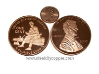 Jumbo Lincoln Bicentennial 2009 Copper Round - Early Years * .999 Fine Copper Bullion Coin.* 1 Troy Ounce.* Large Lincoln Bicentennial Replica.* Image of Lincoln's Early Years on Reverse.* No artificial coatings.(+)Zoom