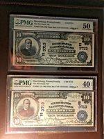 Consecutive 1902 us paper money Cut sheet $10 Fr#626 PMG 50 and PMG 40EPQ