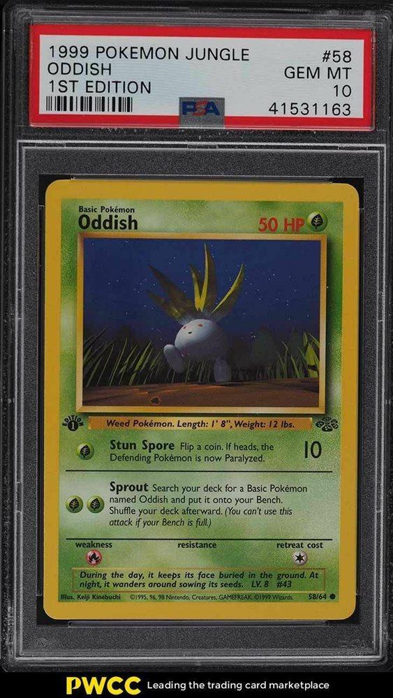 PL//EX Oddish 58//64 Jungle 1st EDITION Pokemon Card