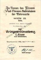 SMGL-24804 War Merit Cross with swords (KVK2) Award document