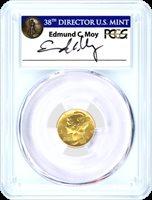 2016 W 24K Gold Centennial Mercury Dime PCGS SP70 First Strike Edmund Moy Signature 1 of 1188