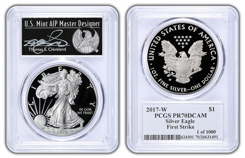 2017 W PROOF SILVER EAGLE PCGS PR70 DCAM THOMAS CLEVELAND FIRST STRIKE MINUTEMAN