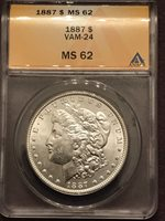 1887 MS62 VAM 24 Near Date, Doubled Upper Reverse Legend Morgan Silver Dollar