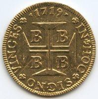 Brazil 1719 B; Gold 4000 Reis; rare; Grade AU