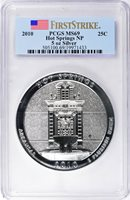 2010 25C HOT SPRINGS NP 5 OZ SILVER - PCGS MS69 - FIRST STRIKE & FLAG LABEL