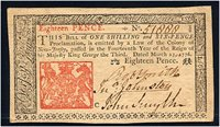 3/25/1776 18 Pence. NJ-176. Choice Uncirculated. Serial 51888.
