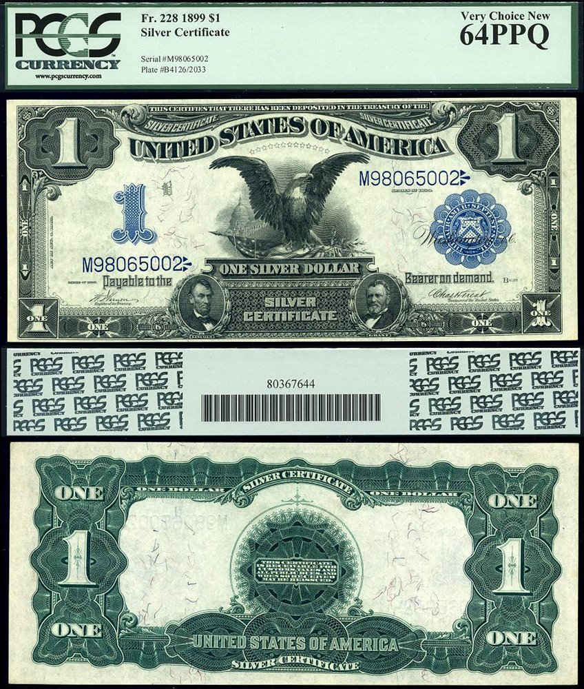 Us Currency 1899 1 Silver Certificate Black Eagle Fr 2